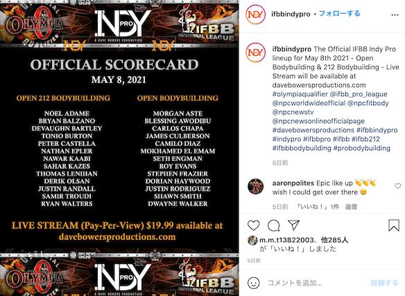 Indy Pro 2021 出場者リスト